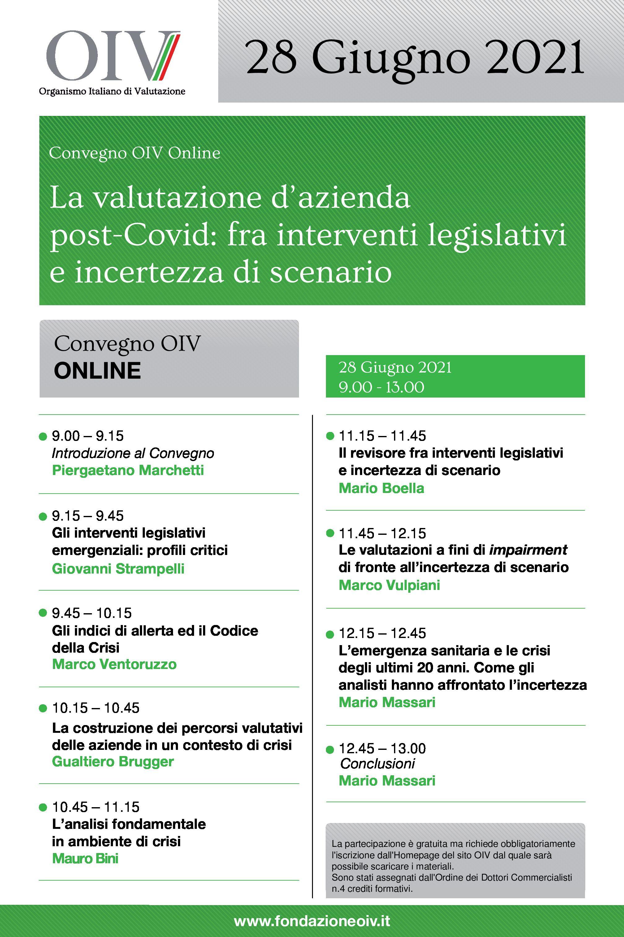 I Convegno OIV online sulla Valutazione d'Azienda post-Covid, 28.6.2021